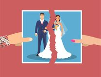 Break up of relationship. Divorcement. Man and woman hands tear apart wedding photo. Break up of relationship. End of family life. Disengagement of young former stock illustration