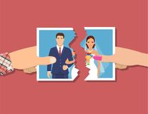 Break up of relationship. Divorcement. Man and woman hands tear apart wedding photo. Break up of relationship. End of family life. Disengagement of young former Royalty Free Illustration