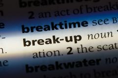 Break-up. Word in a dictionary.  concept stock images