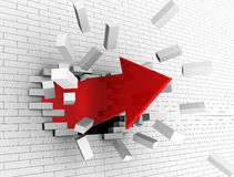 Break wall. 3d illustration of strong red arrow breaking white wall Stock Image
