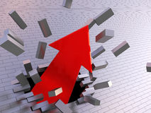 Break the wall. Abstract 3d illustration of strong arrow breaking brick wall Stock Photography