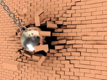Break wall. Abstract 3d illustration of steel ball on chain breaking wall Stock Photography