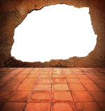Break wall with blank outside the white. Stock Photography