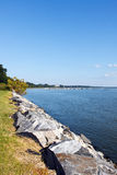 Break wall on the James River Royalty Free Stock Photo