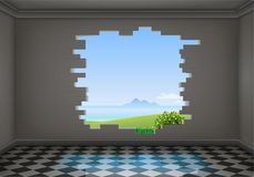 Break in the wall of the room. A break in the wall of a dark room. Exit from the corridor. The natural landscape vector illustration