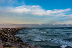 The Break Wall at Turner`s Beach in Yamba, Australia Royalty Free Stock Photo