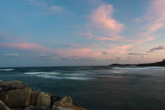 The Break Wall at Turner`s Beach in Yamba, Australia Stock Images
