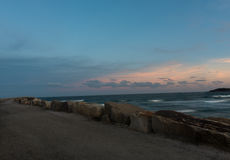 The Break Wall at Turner`s Beach in Yamba, Australia Royalty Free Stock Images
