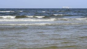 Break-wave of the Baltic sea in Poland. With ferry stock footage