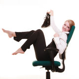 Break from work. Businesswoman relaxing on chair. Stock Images