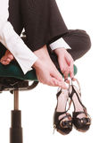 Break from work. Foot pain of businesswoman. Royalty Free Stock Photography
