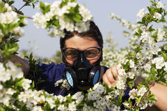 Break from work in garden. Man with protective mask stock photos