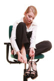 Break from work. Tired businesswoman with leg pain Stock Photo