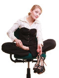Break from work. Tired businesswoman with leg pain Stock Photos