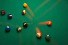 Break01. Balls on a pool (billards) table during play Stock Photo