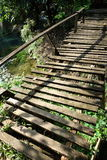 Breakable wooden bridge. Beautiful scene sightseeing at Laos royalty free stock images
