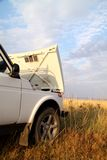 Breakage of a jeep. Travel by car. sky and clouds Royalty Free Stock Photos