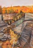 Breakage. Narrow river among steep coast. Fall, September stock illustration