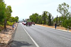 Breakaway Group Of Bike Racers La Vuelta España. A small group gets ahead of the Peleton in La Vuelta España stage 9 2017 Royalty Free Stock Images