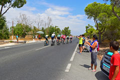 Breakaway Group Passes Crowd La Vuelta España. A small group gets ahead of the Peleton in La Vuelta España stage 9 2017 Royalty Free Stock Image