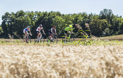 The Breakaway in the Plain - Tour de France 2016. Saint-Quentin-Fallavier,France - July 16, 2016: The breakaway riding in a wheat plain during the stage 14 of Stock Photography