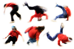 Breakdance. Six dancers on white background. Motion blur - shutter speed 1/25 Stock Images