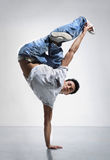 Breakdance. Style dancer doing freeze position Royalty Free Stock Image