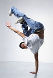 Breakdance. Style dancer doing freeze position Royalty Free Stock Photography