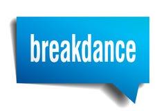 Breakdance blue 3d speech bubble. Breakdance blue 3d square isolated speech bubble Stock Image