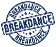 Breakdance blue grunge round vintage stamp Royalty Free Stock Photo