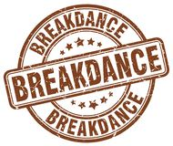 Breakdance brown stamp. Breakdance brown grunge round stamp isolated on white background Stock Image
