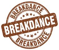Breakdance brown stamp. Breakdance brown grunge round stamp isolated on white background Royalty Free Stock Images