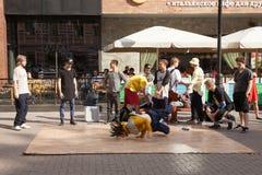 Breakdance crew on Arbat Street Royalty Free Stock Photos