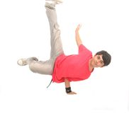 Breakdance dancer. In action on white background Stock Photo