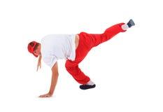 Breakdance del baile del adolescente en la acción Imagen de archivo libre de regalías