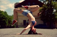 Breakdance girl on the street Royalty Free Stock Photos