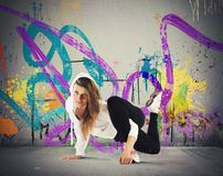 Breakdance girl. Street agile ballerina with hoody dance breakdance Stock Photos