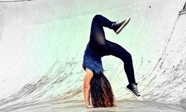 Breakdance girl Royalty Free Stock Image