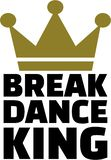 Breakdance king. With golden crown Stock Images