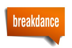 Breakdance orange 3d speech bubble. Breakdance orange 3d square isolated speech bubble Royalty Free Stock Photography