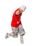 Breakdance performer on white background Royalty Free Stock Photos
