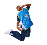 Breakdance performer on white background Royalty Free Stock Image