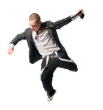 Breakdance performer on white background Royalty Free Stock Images