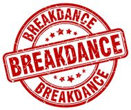 Breakdance red stamp. Breakdance red grunge round stamp isolated on white background Stock Images