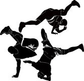 Breakdance silhouette break dance Royalty Free Stock Images