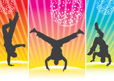 Breakdance Silhouettes. A Great Disco Breakdancers Silhouettes Royalty Free Stock Image