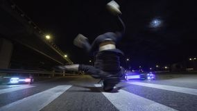 Breakdance street dance night city style headspin