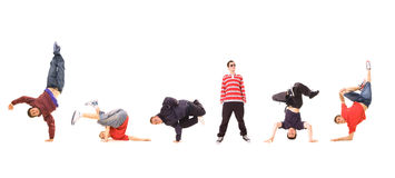 Breakdance team. Isolated on white Stock Photography