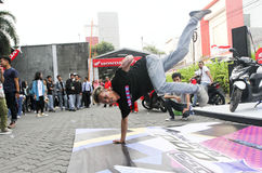Breakdance. Teenagers are following breakdance competition in a sports center in the city of Solo, Central Java, Indonesia Stock Photo