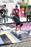 Breakdance. Teenagers are following breakdance competition in a sports center in the city of Solo, Central Java, Indonesia Stock Photos